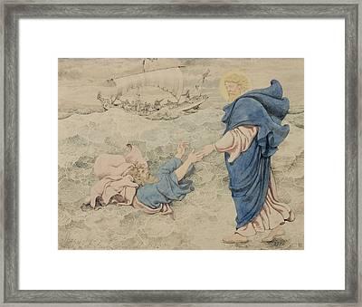 Sketch Of Christ Walking On Water Framed Print by Richard Dadd