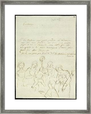 Sketch Of Old Master Painting Framed Print by British Library
