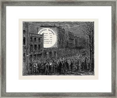 Sketches In New York During The Presidential Election Framed Print by American School