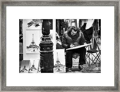 Sketching In Paris Framed Print by John Rizzuto