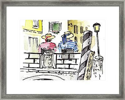 Sketching Italy Two Gondoliers In Venice Framed Print by Irina Sztukowski