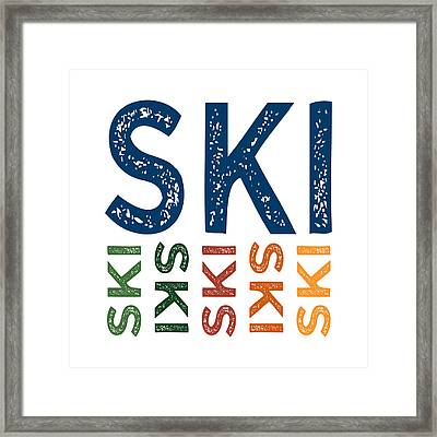 Ski Cute Colorful Framed Print by Flo Karp