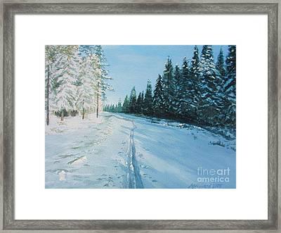 Ski Tracks Framed Print by Martin Howard