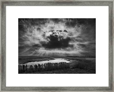 Skies Over The Marsh Framed Print by Adrian Campfield