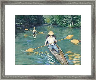 Skiffs Framed Print by Gustave Caillebotte