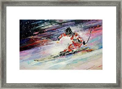 Skiing 01 Framed Print by Miki De Goodaboom