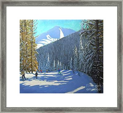 Skiing  Beauregard La Clusaz Framed Print by Andrew Macara