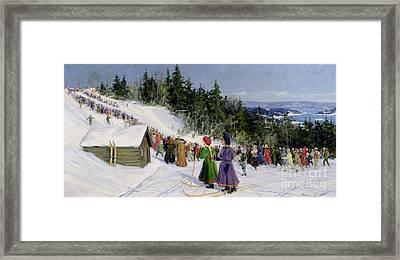 Skiing Competition In Fjelkenbakken Framed Print by Gustav Wentzel