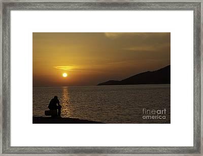 Skopelos Sunset - The Thinker - 2 Framed Print by James Lavott