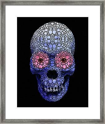 Skull Art - Day Of The Dead 1 Stone Rock'd Framed Print by Sharon Cummings