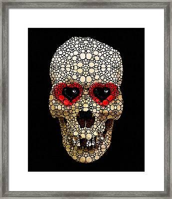Skull Art - Day Of The Dead 3 Stone Rock'd Framed Print by Sharon Cummings