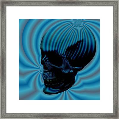 Skull Aura Blue Framed Print by Jason Saunders