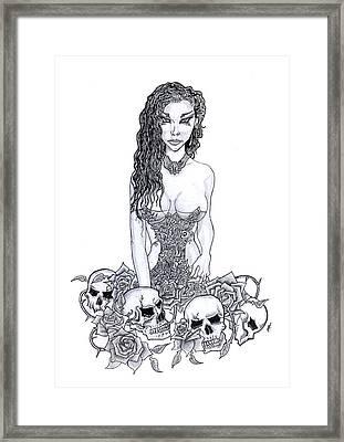 Skull Maiden Framed Print by Leon Bale