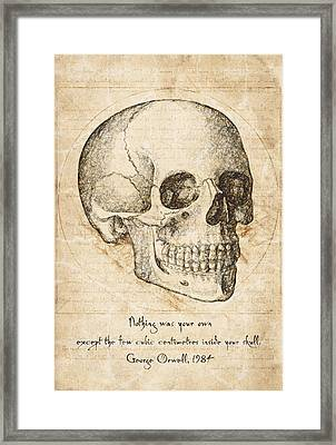 Skull Quote By George Orwell Framed Print by Taylan Soyturk