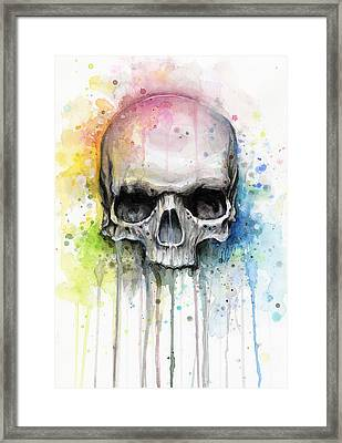 Skull Watercolor Painting Framed Print by Olga Shvartsur