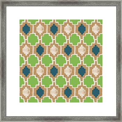 Sky And Sea Tile Pattern Framed Print by Linda Woods