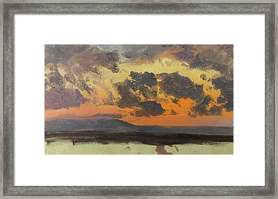 Sky At Sunset. Jamaica. West Indies Framed Print by Frederic Edwin Church