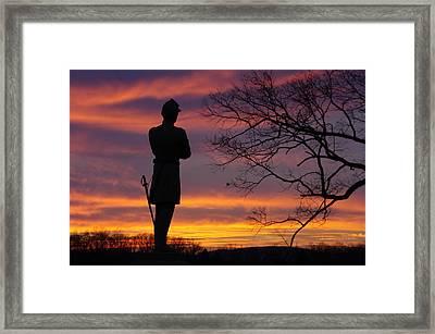 Sky Fire - 124th Ny Infantry Orange Blossoms-1a Sickles Ave Devils Den Sunset Autumn Gettysburg Framed Print by Michael Mazaika