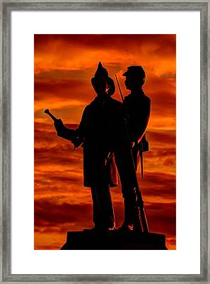 Sky Fire - 73rd Ny Infantry Fourth Excelsior Second Fire Zouaves-b1 Sunrise Autumn Gettysburg Framed Print by Michael Mazaika