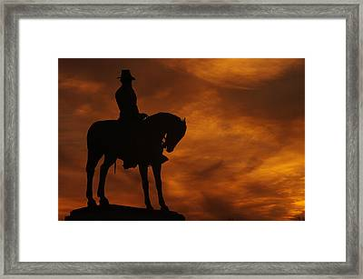 Sky Fire - Major General Oliver Otis Howard - Commanding 11th Army Corps Cemetery Hill Gettysburg Framed Print by Michael Mazaika