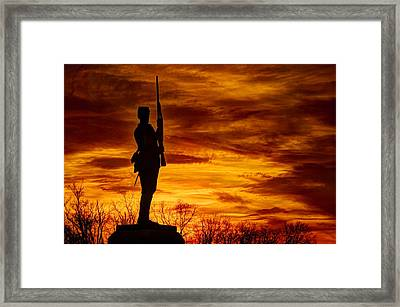 Sky Fire - The Flames Of War - 11th Pennsylvania Volunteer Infantry At Gettysburg - Sunset Close3 Framed Print by Michael Mazaika