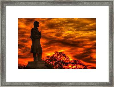 Sky Fire - West Virginia At Gettysburg - 7th Wv Volunteer Infantry Vigilance On East Cemetery Hill Framed Print by Michael Mazaika