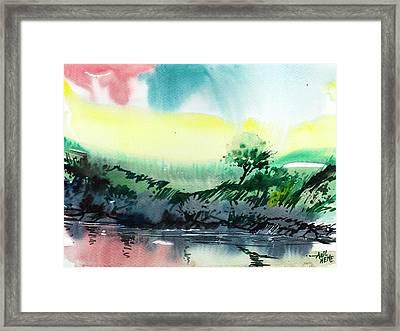 Sky N Lake Framed Print by Anil Nene