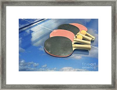 Sky Ping-pong Clouds Table Tennis Paddles Rackets Framed Print by Beverly Claire Kaiya