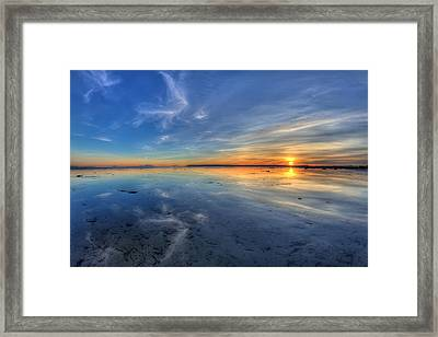Sky Reflection In Boundary Bay Framed Print by Pierre Leclerc Photography