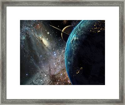 Galaxies Collide Over Terraformed Titan Framed Print by Don Dixon