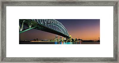 Skyline Harbour Bridge Sydney Australia Framed Print by Panoramic Images
