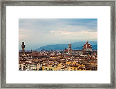 Skyline View Of Florence Italy Framed Print by Susan Schmitz