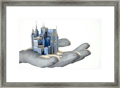 Skyscraper City In The Palm Of A Hand Framed Print by Allan Swart