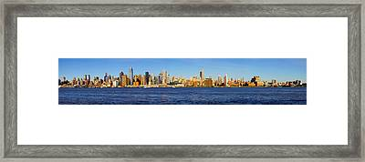 Skyscrapers At The Waterfront, Midtown Framed Print by Panoramic Images