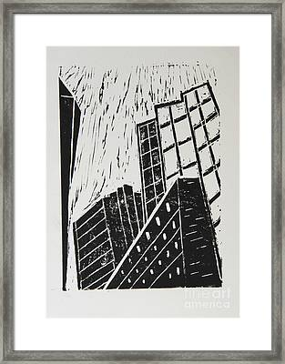 Skyscrapers II - Block Print Framed Print by Christiane Schulze Art And Photography