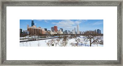 Skyscrapers In A City, Grant Park Framed Print by Panoramic Images