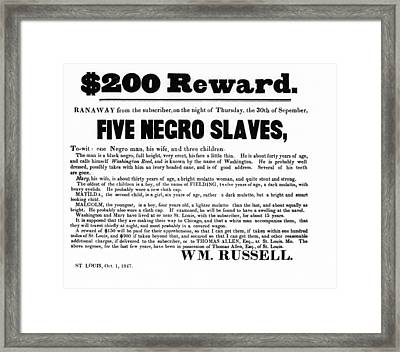 Slave Family And Children Escape - Reward Poster - 1847 Framed Print by Daniel Hagerman