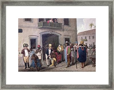 Slaves In Brazil Hand-coloured Engraving Framed Print by English School