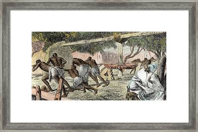 Slaves Irrigating By Water-wheel Framed Print by English School