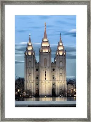 Slc Temple Blue Framed Print by La Rae  Roberts