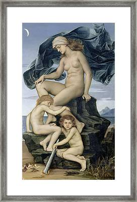 Sleep And Death The Children Of The Night Framed Print by Evelyn De Morgan
