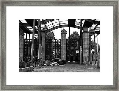 Sleeping At The Train Stop Mono Framed Print by John Rizzuto