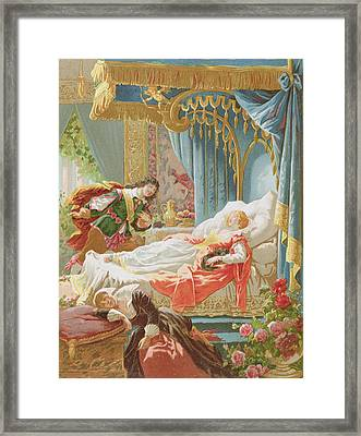 Sleeping Beauty And Prince Charming Framed Print by Frederic Lix