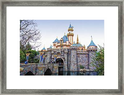 Sleeping Beauty Castle Disneyland Side View Framed Print by Thomas Woolworth