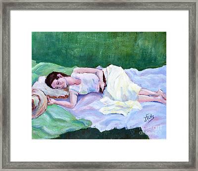 Sleeping Girl Framed Print by Janet Felts