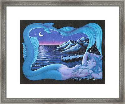 Sleeping Mermaid Framed Print by BH Designs