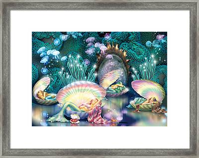 Sleeping Mermaids Framed Print by Zorina Baldescu