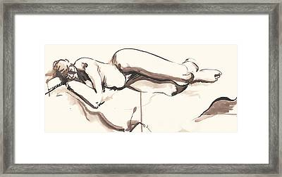 Sleeping Nude Framed Print by Melinda Dare Benfield