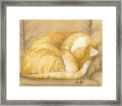 Sleeping Orange Tabby Cat Feline Animal Art Pets Framed Print by Cathy Peek