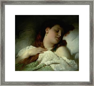 Sleeping Woman Framed Print by Sandor Liezen-Meyer
